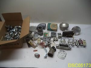 85 Parts Large Electrical Lot Condut Fittings Switches Lights New