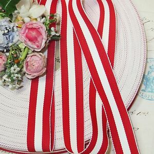 1y 5 8 French Red White Stripe Grosgrain Ribbon Trim Candy Cane Jacquard Vtg