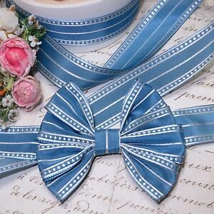 1y 7 8 French Rayon Blue Dot Woven Taffeta Ribbon Trim Antq Vtg Jacquard Doll