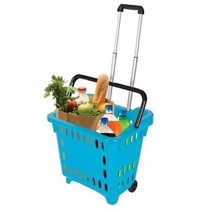 Gocart Teal Grocery Shopping Basket Rolling Laundry Cart