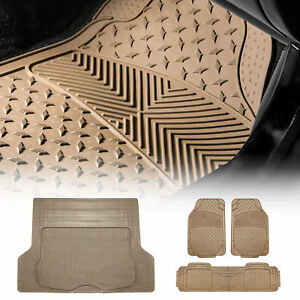 Rubber Floor Mats And Cargo Mat Combo Beige Floor Mats With Beige Cargo Liner