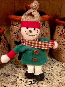 Primitive Country Snowman Ornament Christmas Tree Ornie Girl Snow Girl Wreath