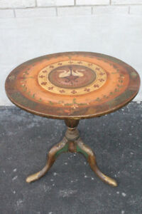 Late 18th Early 19th C Queen Anne Hand Painted Round Tilt Top Table