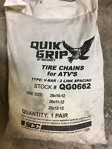 Quik Grip By Security Tire Chains For Atv s V bar 2 Link Spacing Qg0662 New