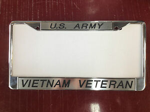 Set Of 2 Custom Engraved Us Army vietnam Veteran License Plate Frames