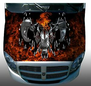 Ripped Ram Fire Flame Hood Wrap Wraps Sticker Vinyl Decal Graphic