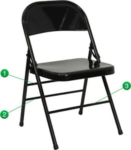 4 Pack Metal Folding Chair Black Color Triple Braced Double Hinged Heavy Duty