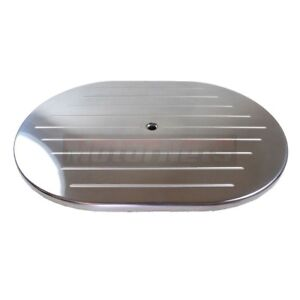 12 Oval Ball Milled Polished Aluminum Air Cleaner Lid Top Only Chevy Ford Mopar