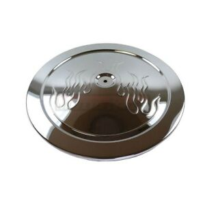 14 Round Chromed Steel Flamed Muscle Car Style Air Cleaner Lid Top 350 454 Fire
