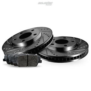 Rear Black Drilled Slotted Brake Rotors And Ceramic Pads 2012 2016 Ford Focus