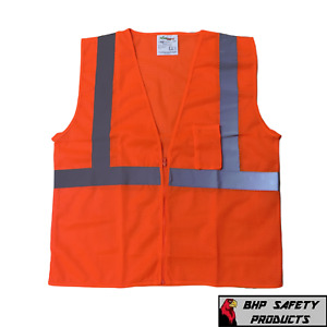 Liberty Reflective Traffic Safety Vest Hi vis Orange C16002f Class Ii All Sizes