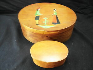 Pair Of Shaker Style Oval Wooden Boxes One Is Handpainted Orleans Carpenters