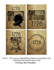 Primitive Grungy Americana Flag Washington 1776 Liberty Bell Labels 12940