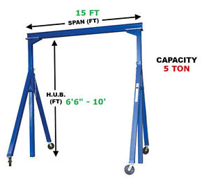 Vestil Adjustable Gantry Crane 5 Ton Capacity Span 15 Ft Adj Hub 6 6 10