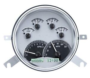Dakota Digital 1949 50 Chevy Car Analog Gauges Silver Alloy White Vhx 49c S W