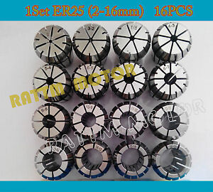 16pcs Er25 Spring Collet 2mm 16mm Precision Milling Lathe Tool For Cnc Router