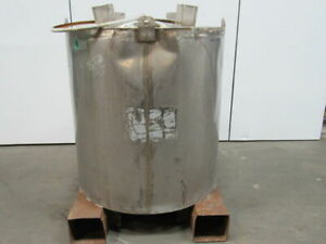345 Us Gallon Stainless Steel Tote Tank 46 Dia x48 1 2 t W Hooks