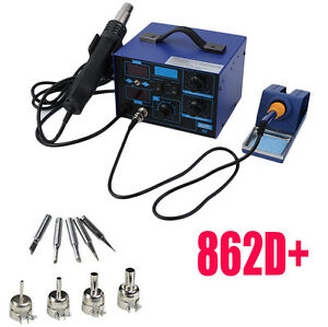 862d 2in1 Smd Soldering Iron Hot Air Rework Station Desoldering Repair 110v Ouy