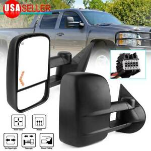 For 07 13 Chevy Silverado 1500 2500 3500 Tow Mirrors Power Heated Led Signals
