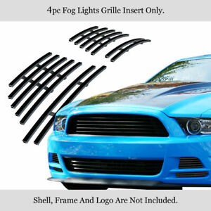 Fits 2013 2014 Ford Mustang Gt Stainless Steel Black Fog Light Billet Grille