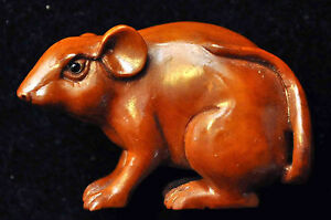 Antique Hand Carved Boxwood Carving Mouse Netsuke Signed 50mmx25mm