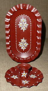 Hand Painted Tole Lovely Sm Single Light Painted Tin Candle Sconce