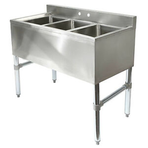 Three Compartment Commercial Kitchen Sink Stainless Steel