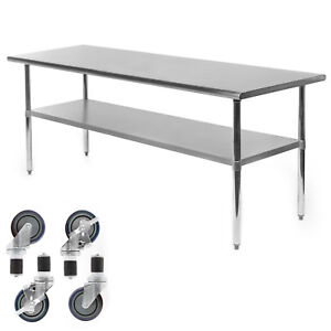 Commercial Stainless Steel Kitchen Food Prep Work Table W 4 Casters 30 X 72