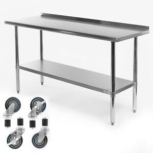 Kitchen Restaurant Stainless Prep Table W Backsplash And 4 Casters 24 X 60