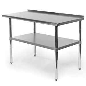 Stainless Steel Kitchen Restaurant Prep Work Table With Backsplash 24 X 48