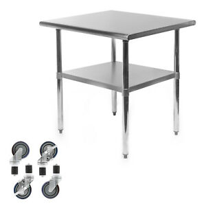 Commercial Stainless Steel Kitchen Food Prep Work Table W 4 Casters 24 X 30