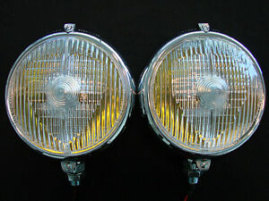 Marchal 670 680 5 3 4 Fog Lights With 12v 55 Watt Amber Bulbs