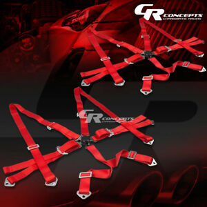 2x 6 point 2 Wide Red Strap Harness Safety Camlock Style Racing Seat Belt bolts