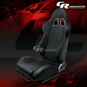 1 X Black Suede Reclinable Sports Racing Seats Mounting Slider Driver Left Side