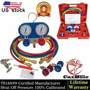 R134a A c Manifold Gauge Set Refrigeration Brass Manometer Gauge System Test Kit