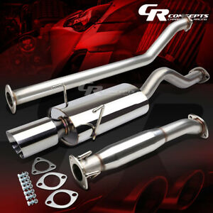 4 Oval Muffler Rolled Tip Catback Exhaust System For 02 06 Acura Rsx Dc5 Type S