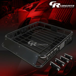 48 X 40 Roof Rack Top Cargo Luggage Carrier Basket Wind Fairing Deflector Black
