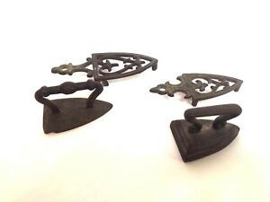 Pair Of Antique Cast Iron Miniature Sad Iron W Hot Plate Trivet