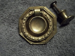 2 Vintage 3 4 Brass Wash Finish Knob Pulls 1 Brass Ring Pull Free S H