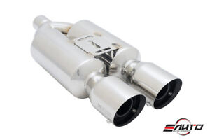 Megan Universal M rs 4 Stainless Dual Twin Tip Exhaust Muffler 2 25 Inlet