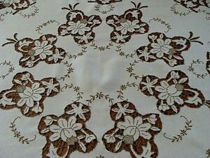 Fancy Madeira Cutwork Linen Tablecloth 43 Topper Hand Embroidered Laundered