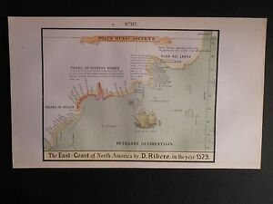 North America East Coast 1529 Map By Ribero Hand Color Labrador To Florida