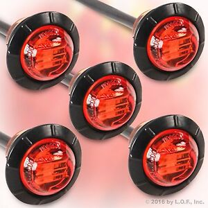 5 Red 3 4 Marker Lights Triple Diode Led Truck Trailer Clearance Indicator New