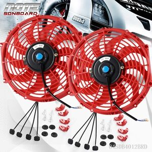 2 X Universal Slim 12 High Performance Radiator Cooling Fan Mounting Kit Red