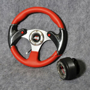 6 Bolt 320mm Pvc Red Racing Steering Wheel Pvc Leather Hub Adapter Jdm Horn