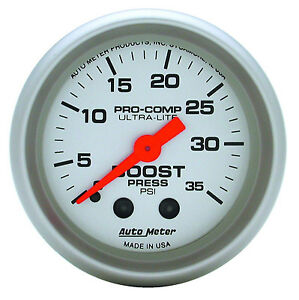 Auto Meter Ultra Lite Mechanical Boost Pressure Gauge 2 1 16 52mm 0 35 Psi
