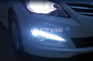 Led Front Fog Light Drl Led Day Light For Hyundai Accent Verna Solaris 2014 2015