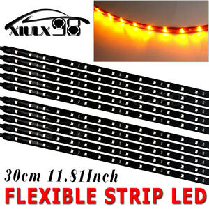 10 X30cm 15led Flexible Strip Lights Car Motorcycle Bike Decoration Amber Yellow