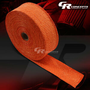 15m 49 Feet 2 Width Exhaust Manifold Header Down Pipe Piping Orange Heat Wrap