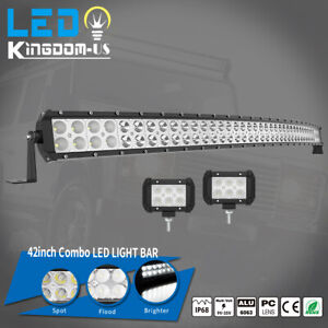 Curved 42inch Led Work Light Bar Spot Flood Combo Driving Lamp 44 4inch Pods